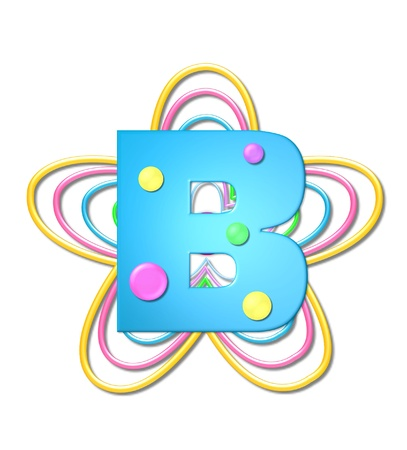 The letter B, in the alphabet set 3D Beads, is aqua with colorful 3D beads.  Letter sits on pastel, colorful, plastic ropes shapes like a flower and increasing in sizes. Zdjęcie Seryjne