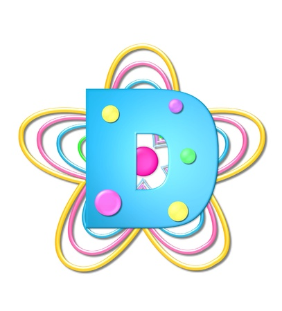The letter D, in the alphabet set 3D Beads, is aqua with colorful 3D beads.  Letter sits on pastel, colorful, plastic ropes shapes like a flower and increasing in sizes.