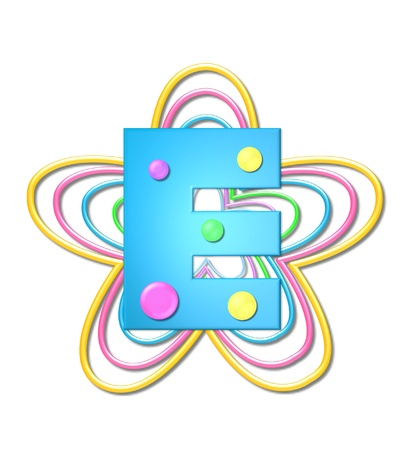 The letter E, in the alphabet set 3D Beads, is aqua with colorful 3D beads.  Letter sits on pastel, colorful, plastic ropes shapes like a flower and increasing in sizes.