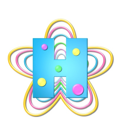 The letter H, in the alphabet set 3D Beads, is aqua with colorful 3D beads.  Letter sits on pastel, colorful, plastic ropes shapes like a flower and increasing in sizes.