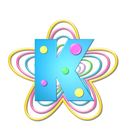 The letter K, in the alphabet set 3D Beads, is aqua with colorful 3D beads.  Letter sits on pastel, colorful, plastic ropes shapes like a flower and increasing in sizes. photo