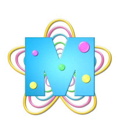 The letter M, in the alphabet set 3D Beads, is aqua with colorful 3D beads.  Letter sits on pastel, colorful, plastic ropes shapes like a flower and increasing in sizes.