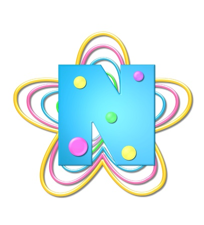 The letter N, in the alphabet set 3D Beads, is aqua with colorful 3D beads.  Letter sits on pastel, colorful, plastic ropes shapes like a flower and increasing in sizes.