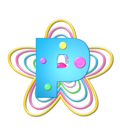 The letter P, in the alphabet set 3D Beads, is aqua with colorful 3D beads.  Letter sits on pastel, colorful, plastic ropes shapes like a flower and increasing in sizes.