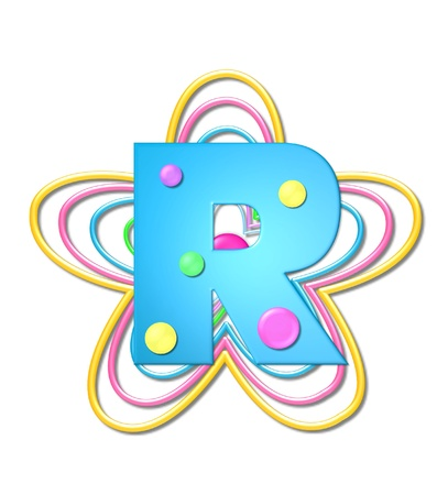 The letter R, in the alphabet set 3D Beads, is aqua with colorful 3D beads.  Letter sits on pastel, colorful, plastic ropes shapes like a flower and increasing in sizes.