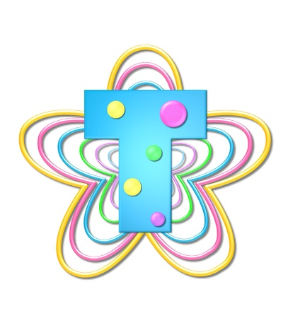 The letter T, in the alphabet set 3D Beads, is aqua with colorful 3D beads.  Letter sits on pastel, colorful, plastic ropes shapes like a flower and increasing in sizes.