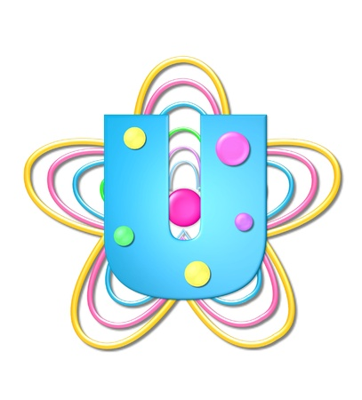 The letter U, in the alphabet set 3D Beads, is aqua with colorful 3D beads.  Letter sits on pastel, colorful, plastic ropes shapes like a flower and increasing in sizes. Zdjęcie Seryjne