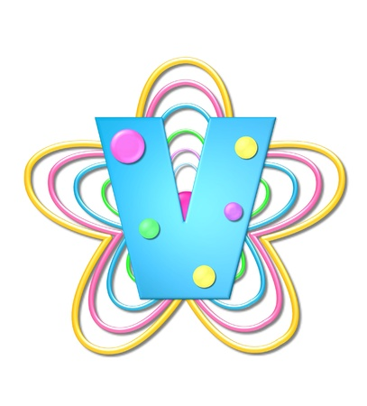 The letter V, in the alphabet set 3D Beads, is aqua with colorful 3D beads.  Letter sits on pastel, colorful, plastic ropes shapes like a flower and increasing in sizes.