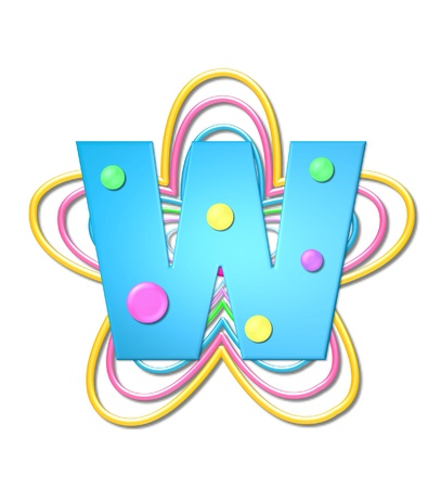 The letter W, in the alphabet set 3D Beads, is aqua with colorful 3D beads.  Letter sits on pastel, colorful, plastic ropes shapes like a flower and increasing in sizes. Zdjęcie Seryjne