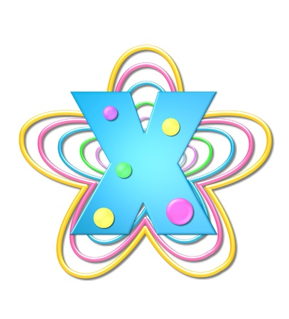 pastel like: The letter X, in the alphabet set 3D Beads, is aqua with colorful 3D beads.  Letter sits on pastel, colorful, plastic ropes shapes like a flower and increasing in sizes. Stock Photo