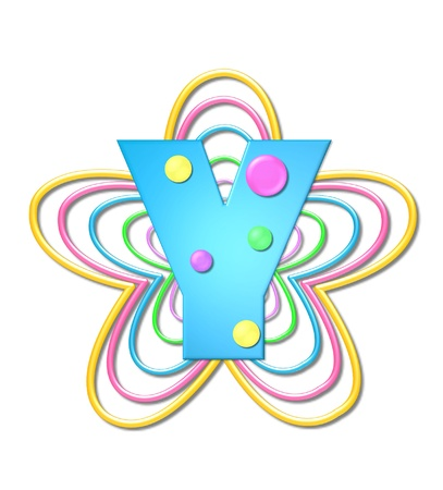 The letter Y, in the alphabet set 3D Beads, is aqua with colorful 3D beads.  Letter sits on pastel, colorful, plastic ropes shapes like a flower and increasing in sizes.