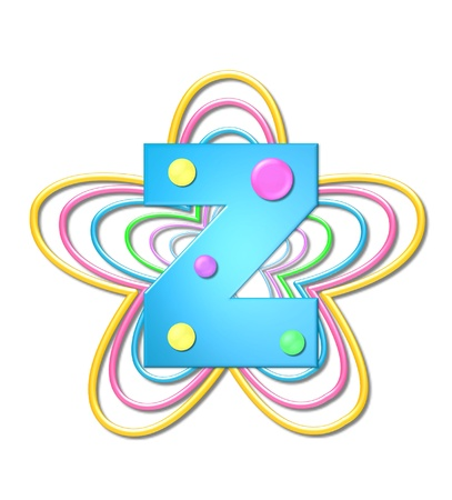 The letter Z, in the alphabet set 3D Beads, is aqua with colorful 3D beads.  Letter sits on pastel, colorful, plastic ropes shapes like a flower and increasing in sizes.