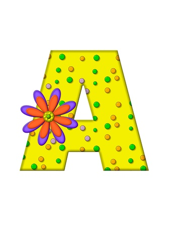 surface covering: The letter A, in the alphabet set Zany Dots, is yellow with multi-colored circles covering letters surface.  Large purple and orange flower finishes the decoration. Stock Photo