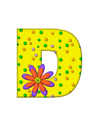 surface covering: The letter D, in the alphabet set Zany Dots, is yellow with multi-colored circles covering letters surface.  Large purple and orange flower finishes the decoration.