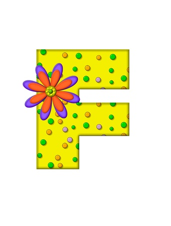 surface covering: The letter F, in the alphabet set Zany Dots, is yellow with multi-colored circles covering letters surface.  Large purple and orange flower finishes the decoration.
