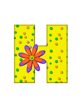 surface covering: The letter H, in the alphabet set Zany Dots, is yellow with multi-colored circles covering letters surface.  Large purple and orange flower finishes the decoration.