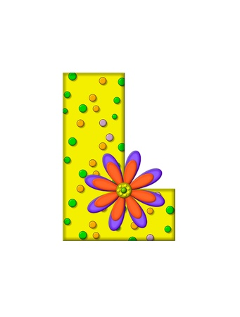 surface covering: The letter L, in the alphabet set Zany Dots, is yellow with multi-colored circles covering letters surface.  Large purple and orange flower finishes the decoration.