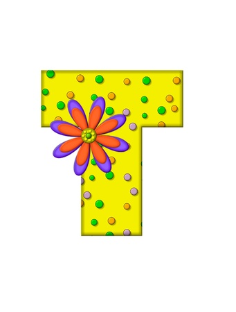 surface covering: The letter T, in the alphabet set Zany Dots, is yellow with multi-colored circles covering letters surface.  Large purple and orange flower finishes the decoration. Stock Photo