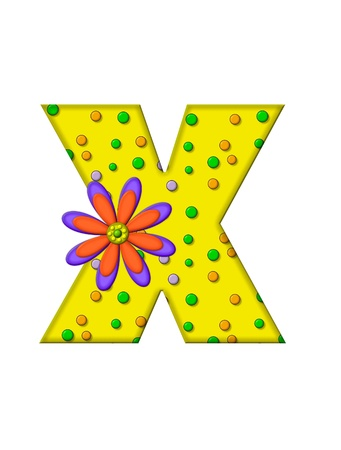 The letter X, in the alphabet set Zany Dots, is yellow with multi-colored circles covering letters surface.  Large purple and orange flower finishes the decoration. photo