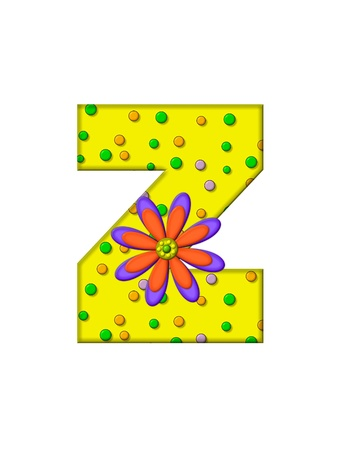 surface covering: The letter Z, in the alphabet set Zany Dots, is yellow with multi-colored circles covering letters surface.  Large purple and orange flower finishes the decoration.