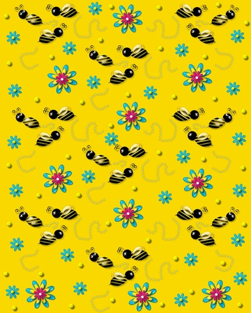 3D bumble bees flit from one 3D flower to another leaving a trail of pearls  Background is bright yellow
