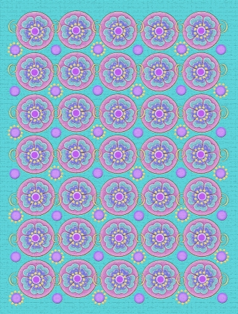 Background is soft aqua with texture   Circles are decorated with flower and yellow swirls   Flowers are polka dotted   Small yellow dots soft lilac circles Stock Photo - 19280434