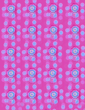 Deep pink background is covered in blurred dots with centered blue flower  Stock Photo