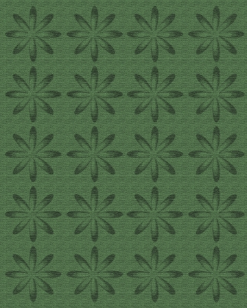 topped: Faded shade of green linen is topped with rows of large daisy shaped flowers in deeper shades of same green. Stock Photo