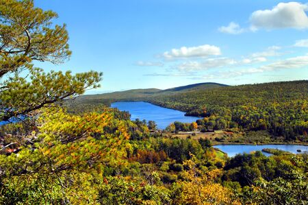 upper peninsula: High angle view of Lake Fanny Hooe in Upper Penninsula, Michigan.  Lake is located on the Keweenaw Peninsula and this view is from famous Brockway Mountain Drive.