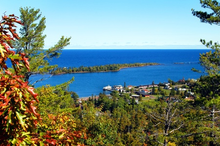 upper peninsula: On famous Brockway Mountain Drive, scenic pullout shows gorgeous vista of Copper Harbor, Isle Royal and Lake Superior.