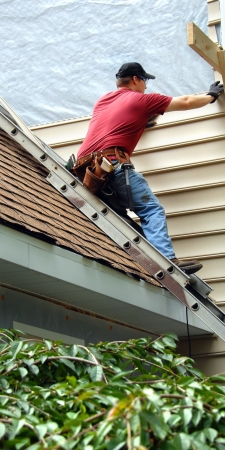 Young man perches on metal ladder on roof top.  He is installing siding on his home.  He is wearing a tool belt, red shirt and work jeans. photo