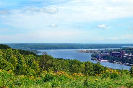 portage: Wildflowers overlook Portage Lake and MichiganTechnological University in Houghton, Michigan.