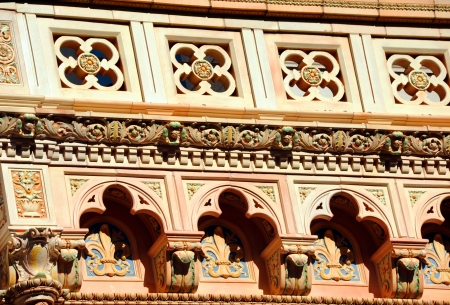 consolidated: Closeup of terra cotta facade shows the beautiful architecture of the Consolidated Building in downtown, Columbia, South Carolina. Stock Photo