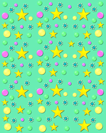 3D bubbles in yellow, pink and green cover mint green background.  Stars and gem encircled flowers and float across background. Stock Photo - 19463512