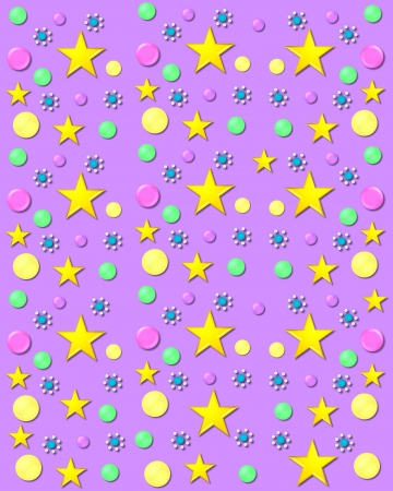 3D bubbles in yellow, pink and green cover lilac background.  Stars and gem encircled flowers and float across background. photo