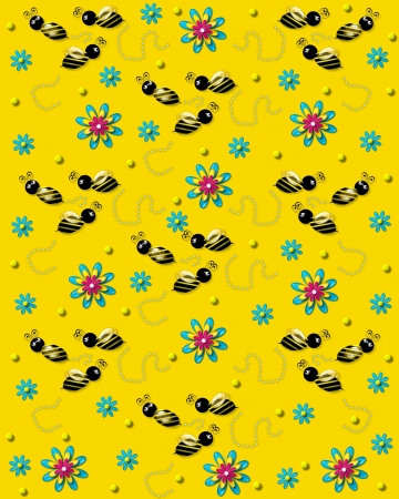 3D bumble bees flit from one 3D flower to another leaving a trail of pearls. Background is bright yellow.