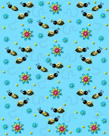 3D bumble bees flit from one 3D flower to another leaving a trail of pearls. Background is soft blue.