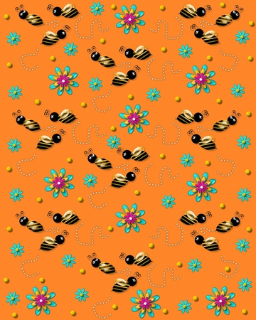 3D bumble bees flit from one 3D flower to another leaving a trail of pearls. Background is soft orange.