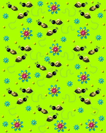 3D bumble bees flit from one 3D flower to another leaving a trail of pearls. Background is lime green.
