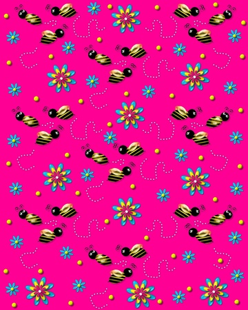 3D bumble bees flit from one 3D flower to another leaving a trail of pearls. Background is bright pink.