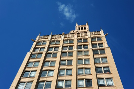 First skyscraper in western North Carolina, the Jackson Building is 15 stories high with an observation tower.  Style is Neo-Gothin with grotesques extending from corners of buildings.