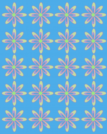lined up: Blue tint serves as background for daisies lined up in rows.  Flowers are large with coordinating layers of petals.
