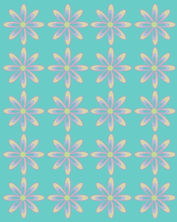 lined up: Turquoise tint serves as background for daisies lined up in rows.  Flowers are large with coordinating layers of petals.