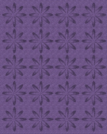 topped: Faded shade of purple linen is topped with rows of large daisy shaped flowers in deeper shades of same purple.