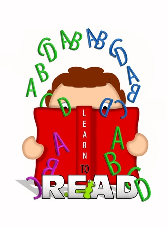 Illustration shows child holding an open book and looking through letters of the alphabet that float off the pages of the book.   Bookworm crawls through letters that say Read. illustration