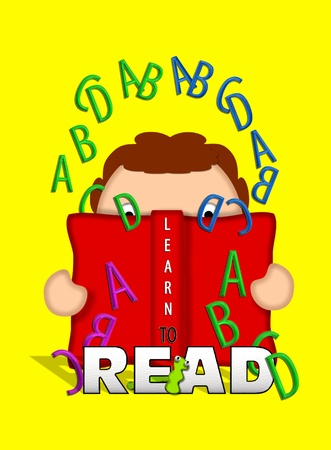 Illustration shows child holding an open book and looking through letters of the alphabet that float off the pages of the book.   Bookworm crawls through letters that say 'Read.' illustration