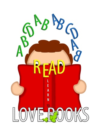 Illustration shows child holding an open book and looking through the word READ. Bookworm crawls through the phrase Love books while letters of the alphabet float around childs head. illustration