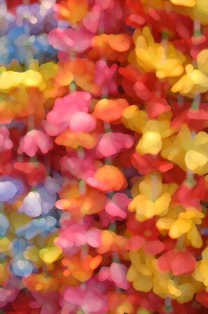 L'immagine di sfondo ha bagliori tropicali come petali di fiori aggiungono brillanti spruzzi di colore in giallo, rosa, arancione e blu Archivio Fotografico - 24408829