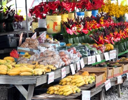 Hilo Farmer's Market is gevuld met groenten en fruit en emmers en boeketten van vers gesneden tropische bloemen.