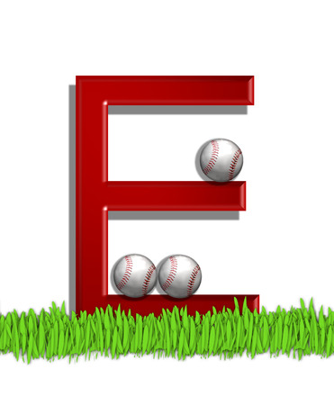 The letter E, in the alphabet set Baseball, is red.  Three baseballs decorate 3D letter.  All sit in a field of green grass. photo